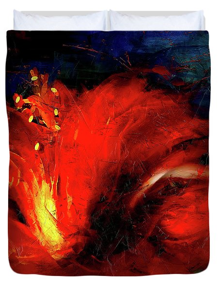 In Red Abstract Hibiscus Duvet Cover