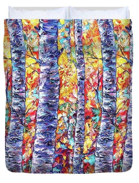 Autumn  Aspen Trees Contemporary Painting  Duvet Cover