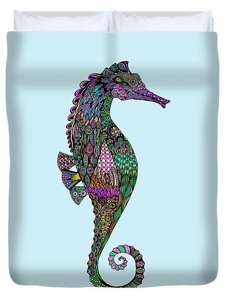 Duvet Cover featuring the drawing Electric Lady Seahorse  by Tammy Wetzel