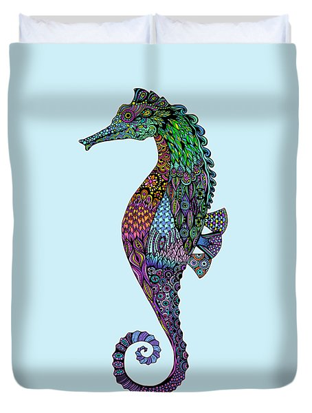 Duvet Cover featuring the drawing Electric Gentleman Seahorse by Tammy Wetzel