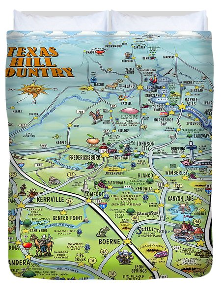 Texas Hill Country Cartoon Map Duvet Cover by Kevin Middleton