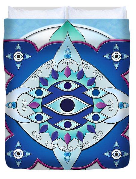 Mandala Of The Seven Eyes Duvet Cover by Bedros Awak
