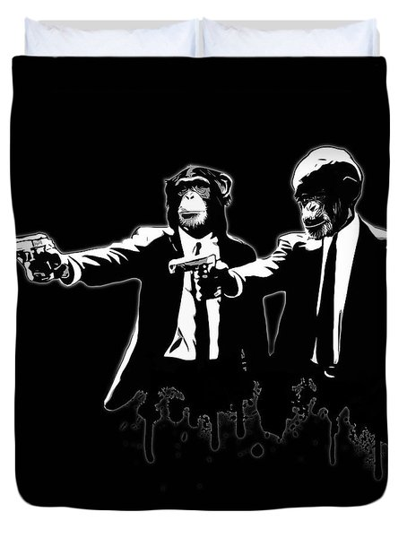 Divine Monkey Intervention - Pulp Fiction Duvet Cover by Nicklas Gustafsson