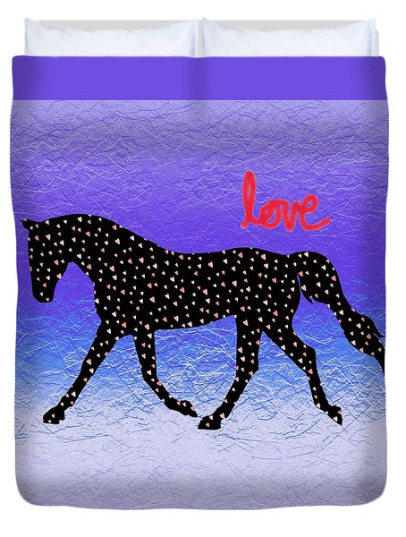 Horse Hearts And Love Duvet Cover