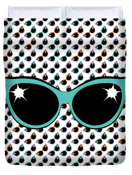 Retro Turquoise Cat Sunglasses Duvet Cover