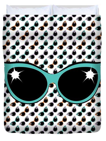 Retro Turquoise Cat Sunglasses Duvet Cover
