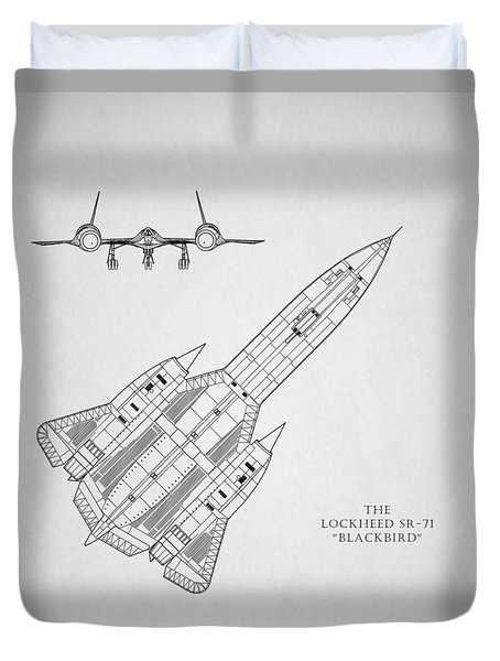 The Lockheed Sr-71 Blackbird Duvet Cover by Mark Rogan