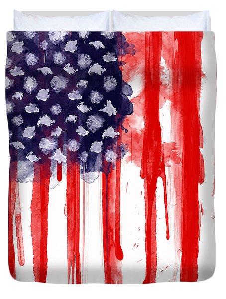 American Spatter Flag Duvet Cover