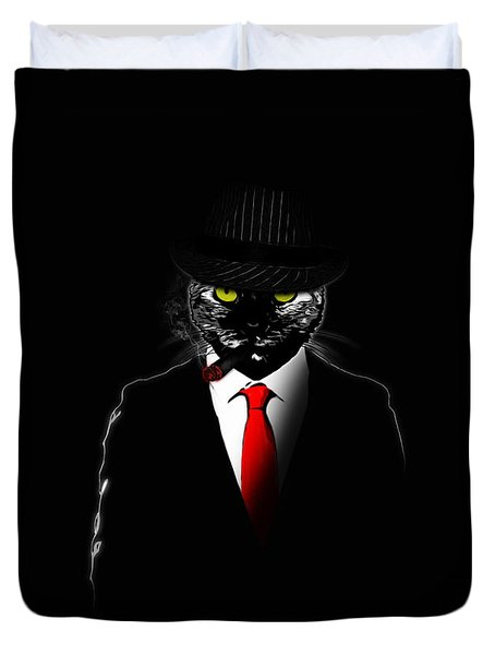 Mobster Cat Duvet Cover by Nicklas Gustafsson
