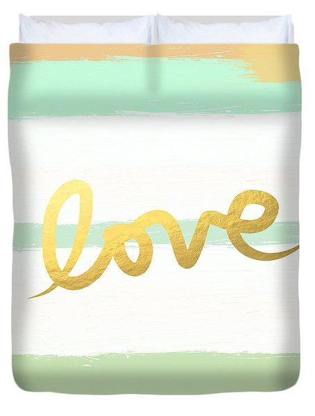 Love In Mint And Gold Duvet Cover