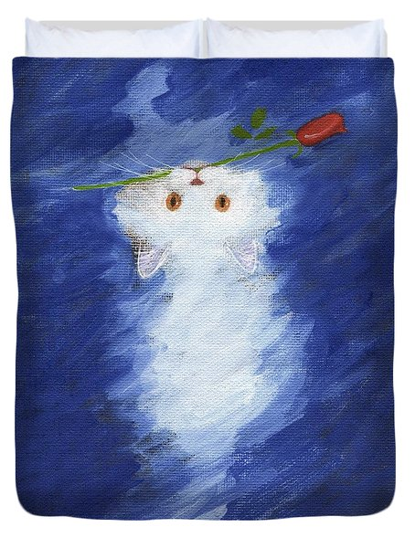 Cat With A Rose Duvet Cover