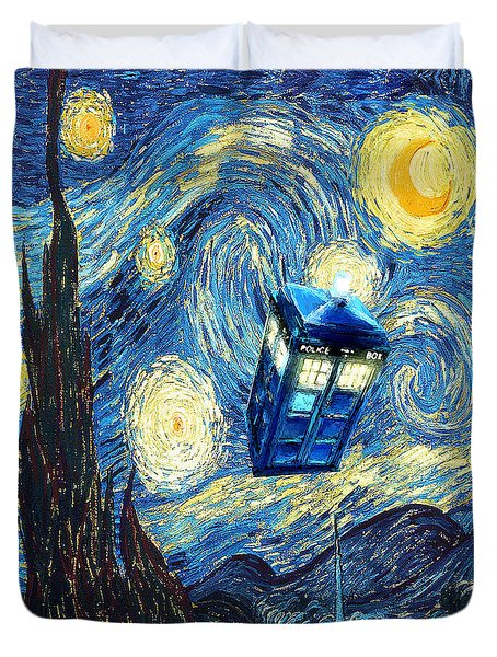 Weird Flying Phone Booth Starry The Night Duvet Cover