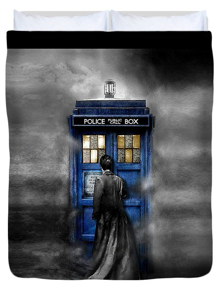 Mysterious Time Traveller With Black Jacket Duvet Cover
