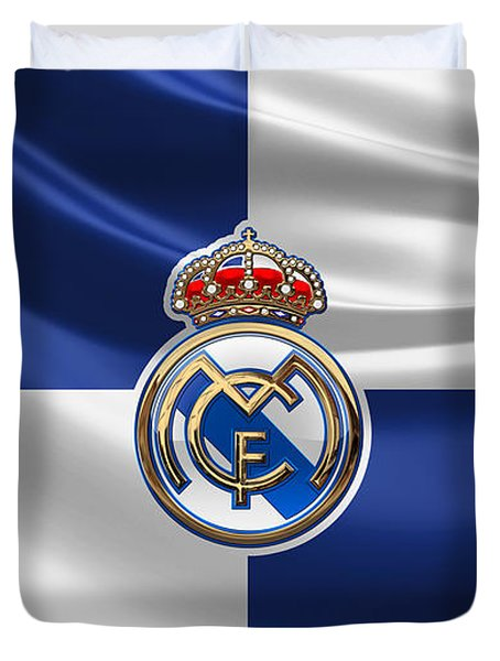 Real Madrid C F - 3 D Badge Over Flag Duvet Cover
