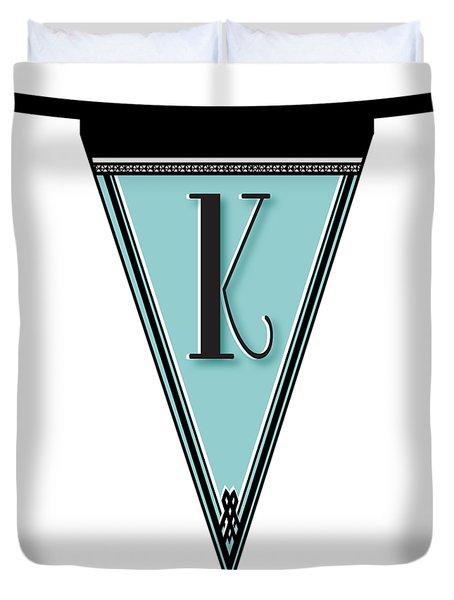 Pennant Deco Blues Banner Initial Letter K Duvet Cover