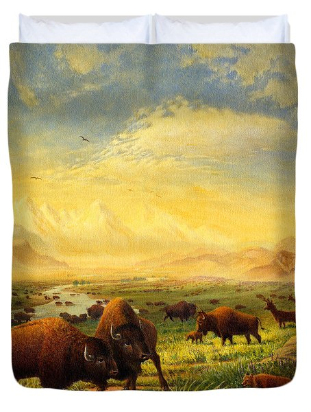 Buffalo Fox Great Plains Western Landscape Oil Painting - Bison - Americana - Historic - Walt Curlee Duvet Cover