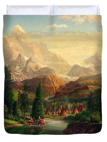 Indian Village Trapper Western Mountain Landscape Oil Painting - Native Americans Americana Stream Duvet Cover