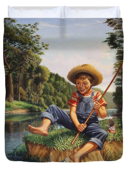 Boy Fishing In River Landscape - Childhood Memories - Flashback - Folkart - Nostalgic - Walt Curlee Duvet Cover