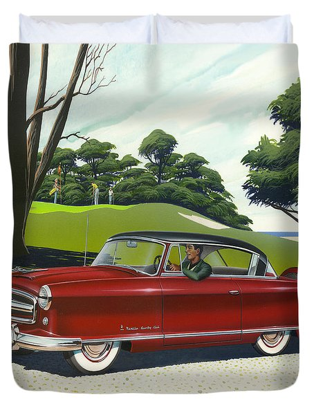 1953 Nash Rambler Car Americana Rustic Rural Country Auto Antique Painting Red Golf Duvet Cover by Walt Curlee