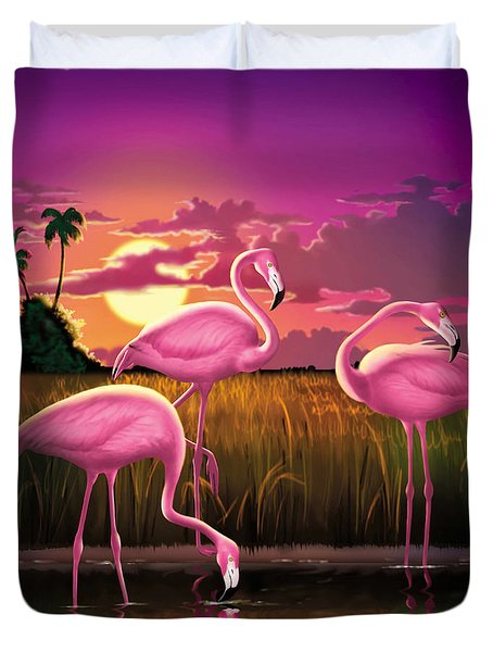 Flamingoes Flamingos Tropical Sunset Landscape Florida Everglades Large Hot Pink Purple Print Duvet Cover by Walt Curlee