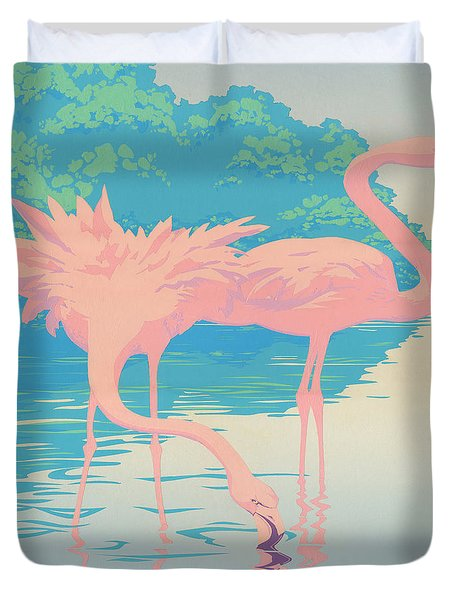 abstract Pink Flamingos retro pop art nouveau tropical bird 80s 1980s florida painting print Duvet Cover