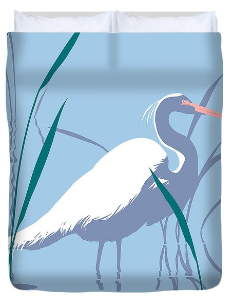 abstract Egret graphic pop art nouveau 1980s stylized retro tropical florida bird print blue gray  Duvet Cover