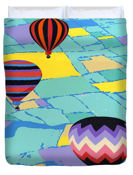 Abstract Hot Air Balloons - Ballooning - Pop Art Nouveau Retro Landscape - 1980s Decorative Stylized Duvet Cover