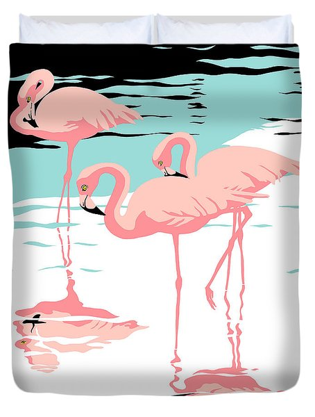Pink Flamingos Tropical 1980s Abstract Pop Art Nouveau Graphic Art Retro Stylized Florida Print Duvet Cover