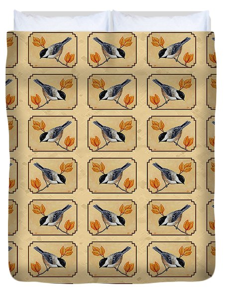 Chickadee And Autumn Leaves Duvet Cover