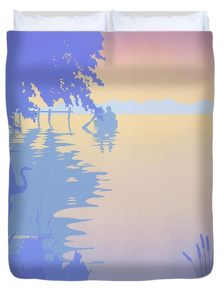 abstract tropical boat Dock Sunset large pop art nouveau retro 1980s florida landscape seascape Duvet Cover