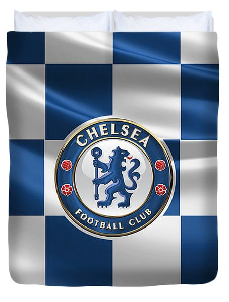 Chelsea F C - 3 D Badge Over Flag Duvet Cover