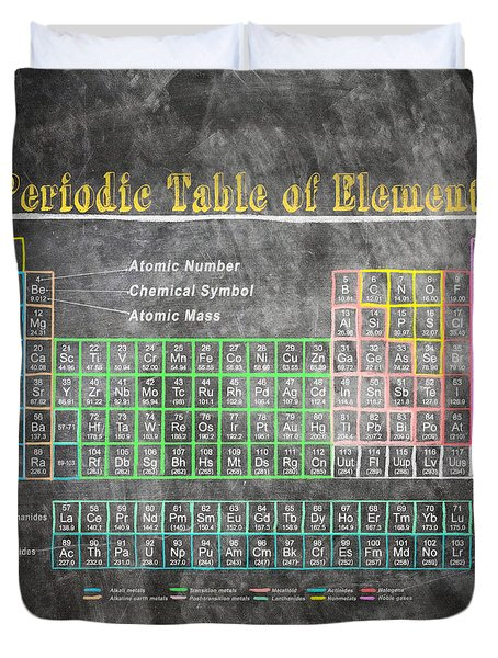 Retro Chalkboard Periodic Table Of Elements Duvet Cover