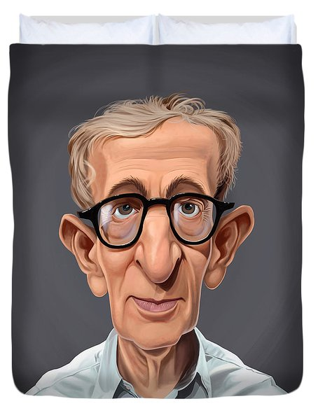 Duvet Cover featuring the drawing Celebrity Sunday - Woody Allen by Rob Snow