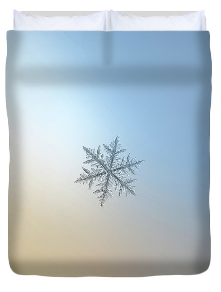 Duvet Cover featuring the photograph Snowflake Photo - Silverware by Alexey Kljatov