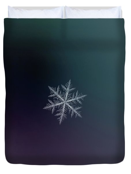 Duvet Cover featuring the photograph Snowflake Photo - Neon by Alexey Kljatov