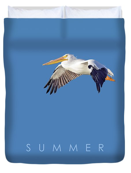Duvet Cover featuring the drawing Blue Series 003 Summer by Rob Snow