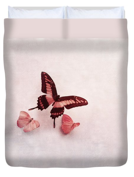 Duvet Cover featuring the photograph Pastel Pink Butterflies by Brooke T Ryan