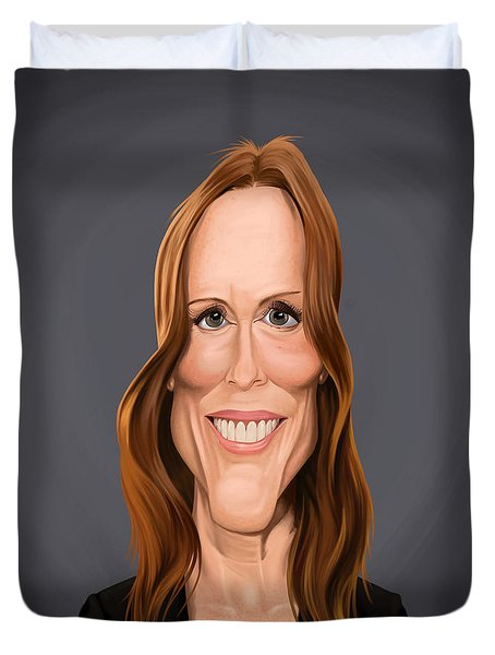 Duvet Cover featuring the drawing Celebrity Sunday - Julianne Moore by Rob Snow