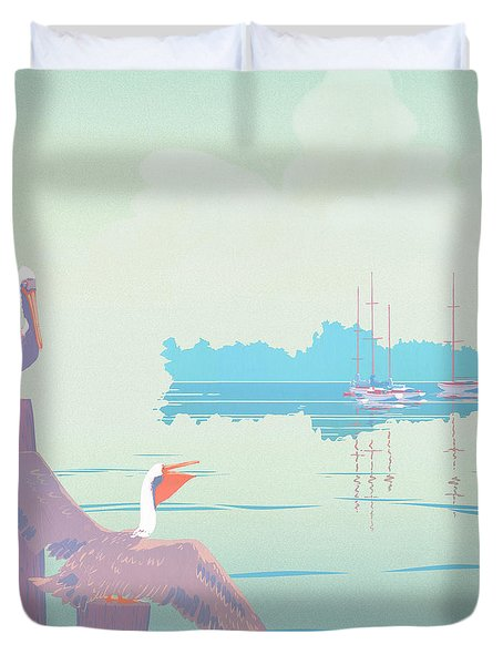 Abstract Pelicans Tropical Florida Seascape Sailboats Large Pop Art Nouveau 1980s Stylized Painting Duvet Cover by Walt Curlee
