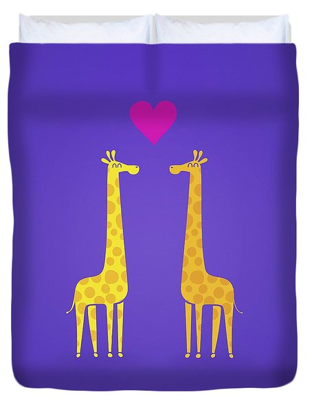 Cute Cartoon Giraffe Couple In Love Purple Edition Duvet Cover by Philipp Rietz