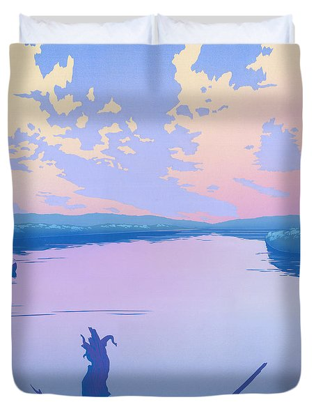 abstract people Canoeing river sunset landscape 1980s pop art nouveau retro stylized painting print Duvet Cover by Walt Curlee