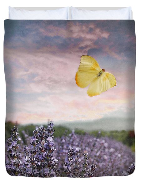 Duvet Cover featuring the photograph Lavender Field Pink And Blue Sunset And Yellow Butterfly by Brooke T Ryan