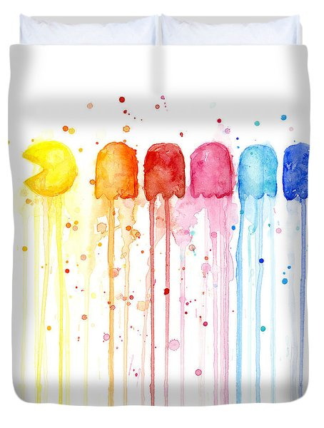 Pacman Watercolor Rainbow Duvet Cover