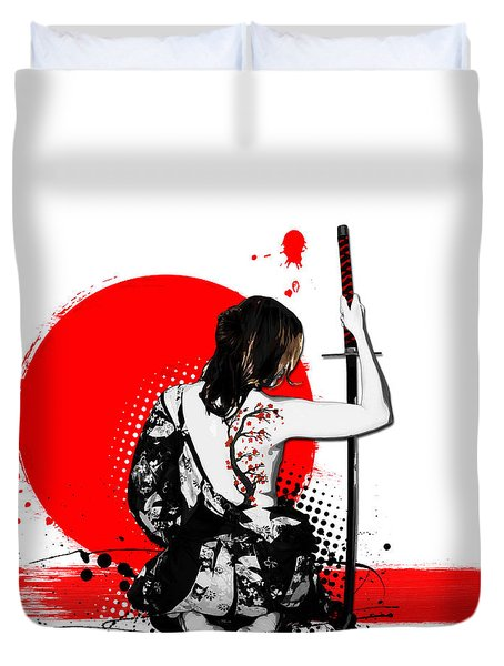 Trash Polka - Female Samurai Duvet Cover