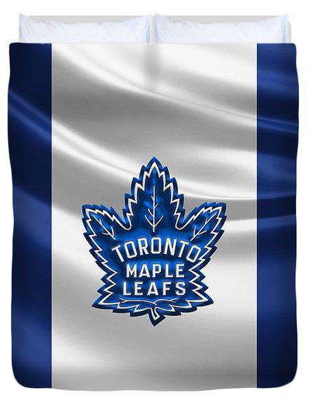 Toronto Maple Leafs - 3 D Badge Over Silk Flag Duvet Cover