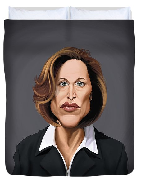 Celebrity Sunday - Gillian Anderson Duvet Cover by Rob Snow