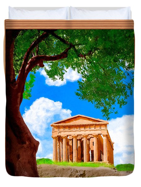 Classical Greek Temple - Ruins Of Akragas Duvet Cover