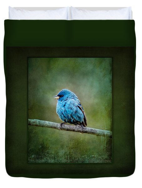 Bird In Blue Indigo Bunting Ginkelmier Inspired Duvet Cover