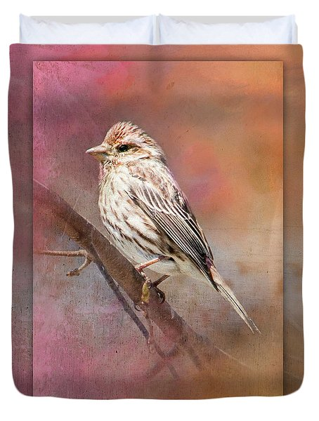 Female Sparrow On Branch Ginkelmier Inspired Duvet Cover