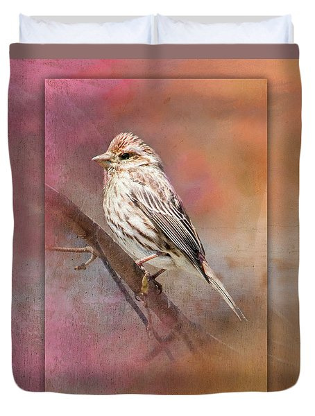 Female Sparrow On Branch Ginkelmier Inspired Duvet Cover